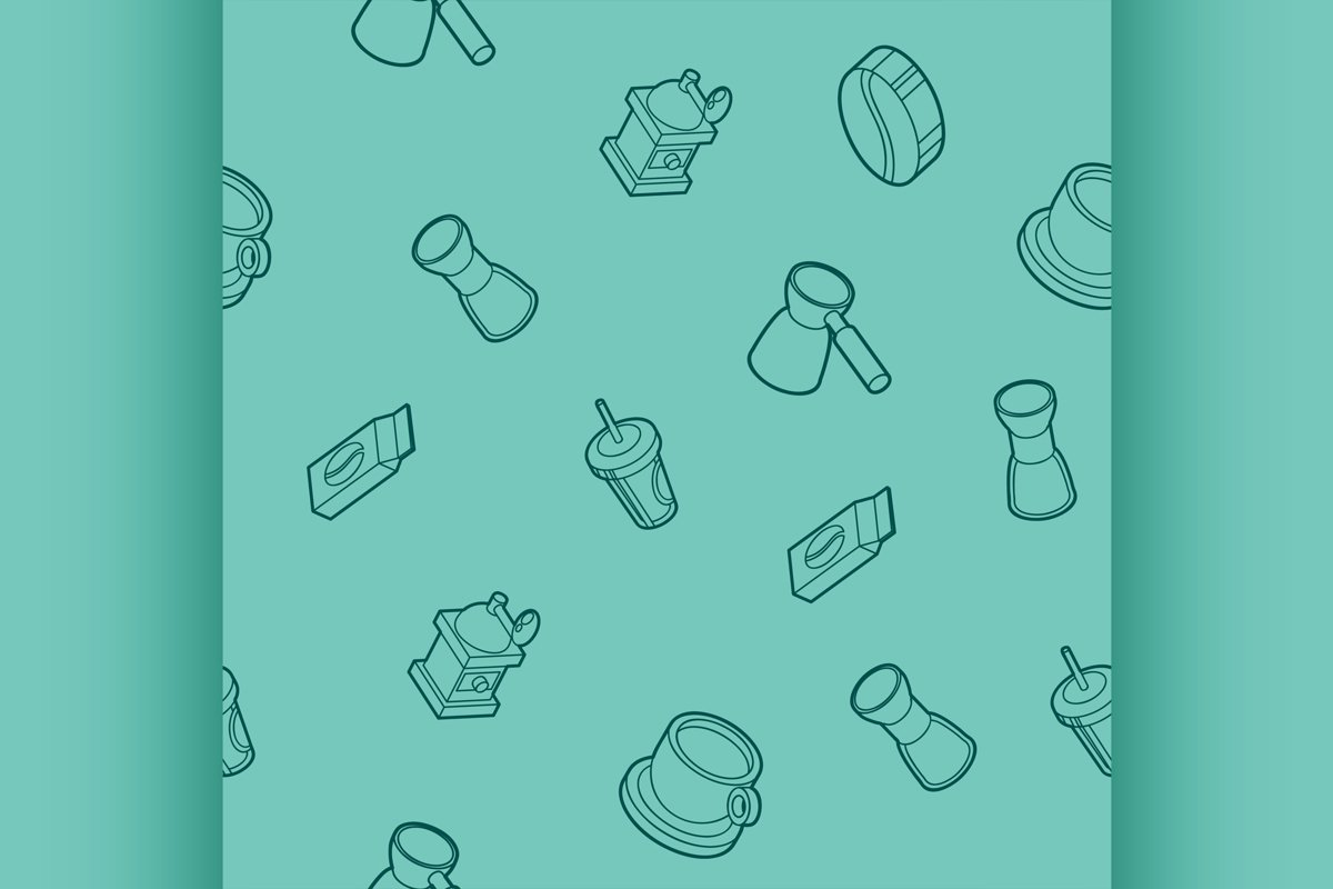 Coffee outline isometric pattern example image 1