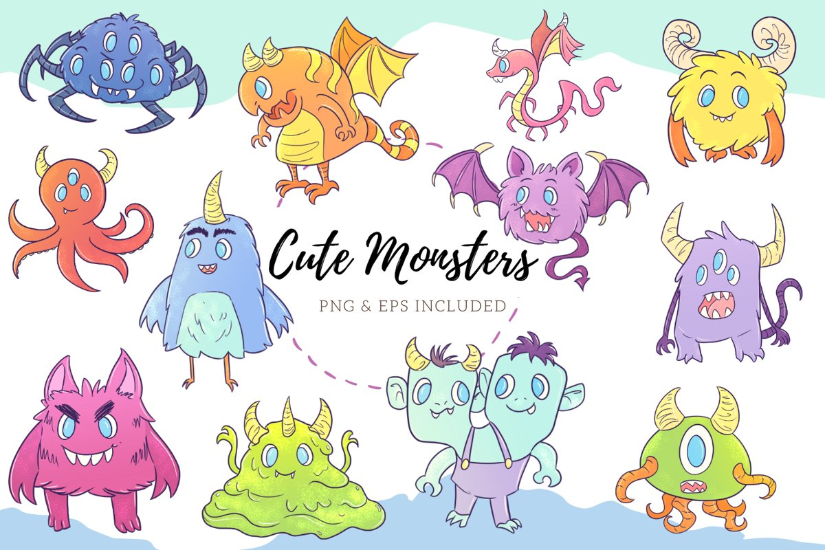 Cute Monster Illustrations example image 1