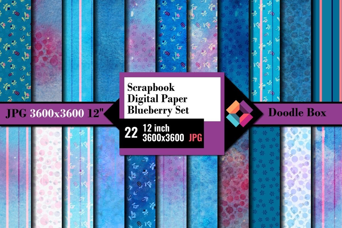 Scrapbook Digital Paper Blueberry set example image 1