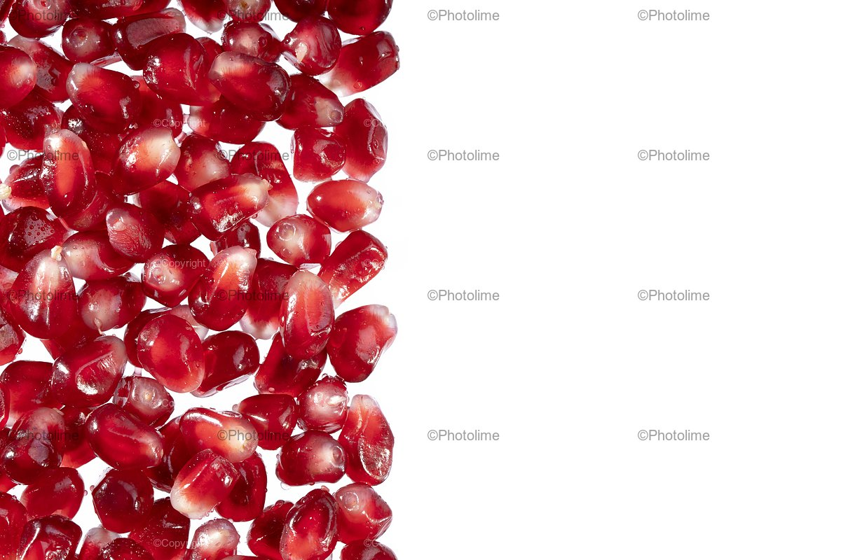 Pomegranate or garnet red seeds frame creative layout. Juice example image 1