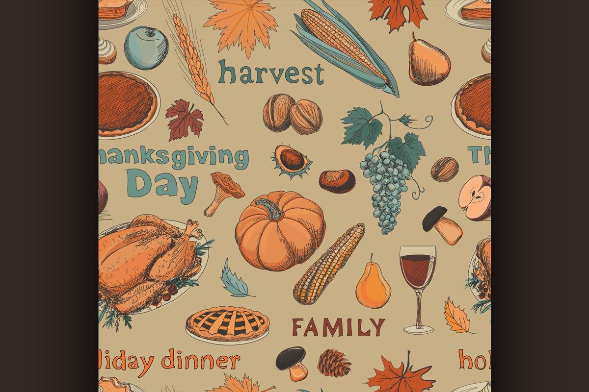 Hand drawn seamless pattern thanksgiving example image 1