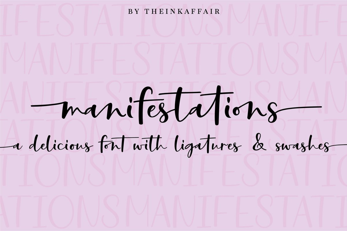 Manifestations, a modern calligraphy script font example image 1
