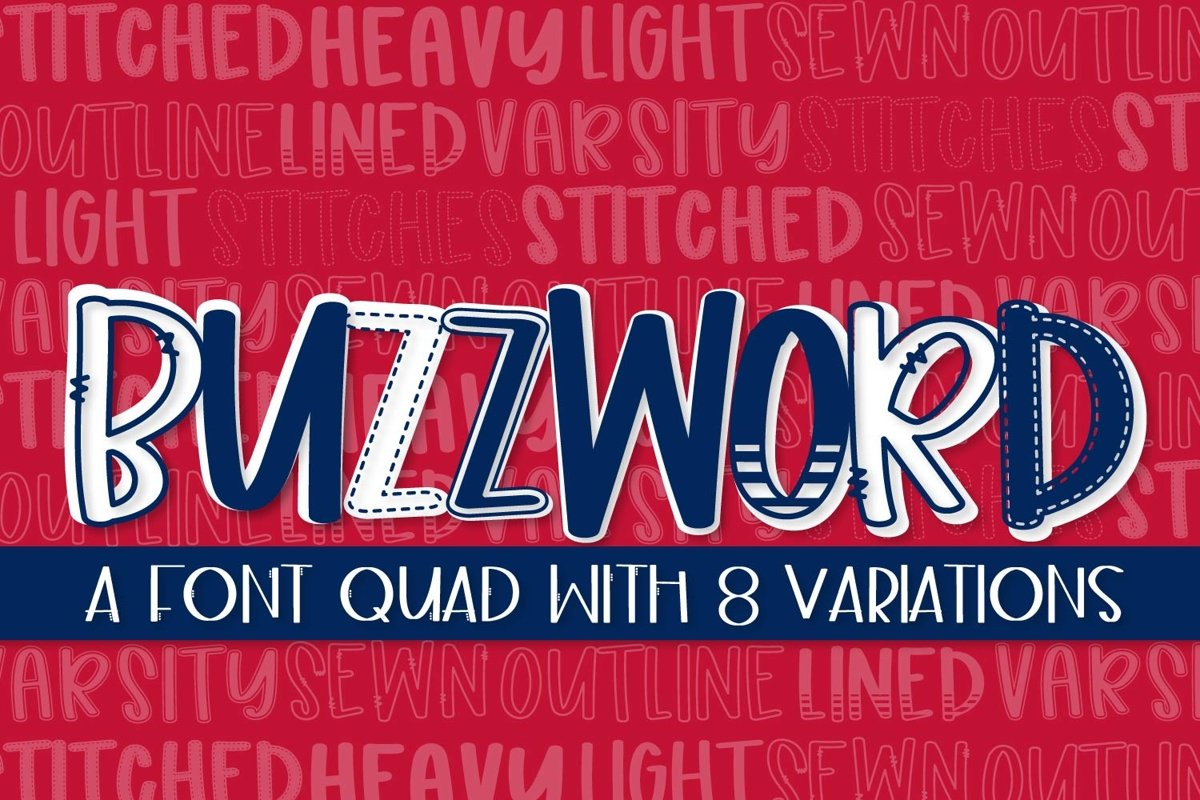 Buzzword - A Font Quad With 8 Variations example image 1