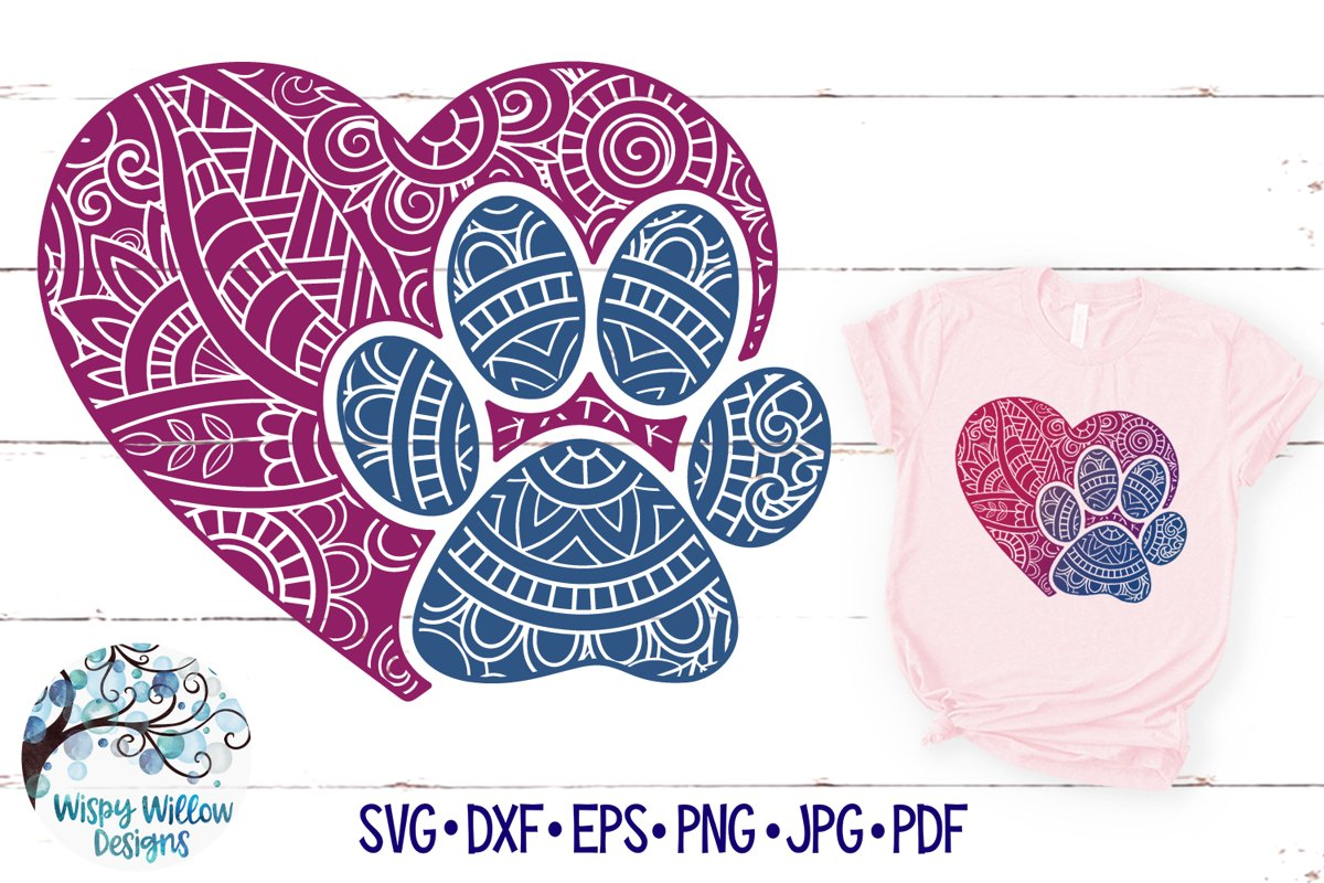 Animal Paw Print Zentangle | Paw Print Mandala SVG Cut File example image 1