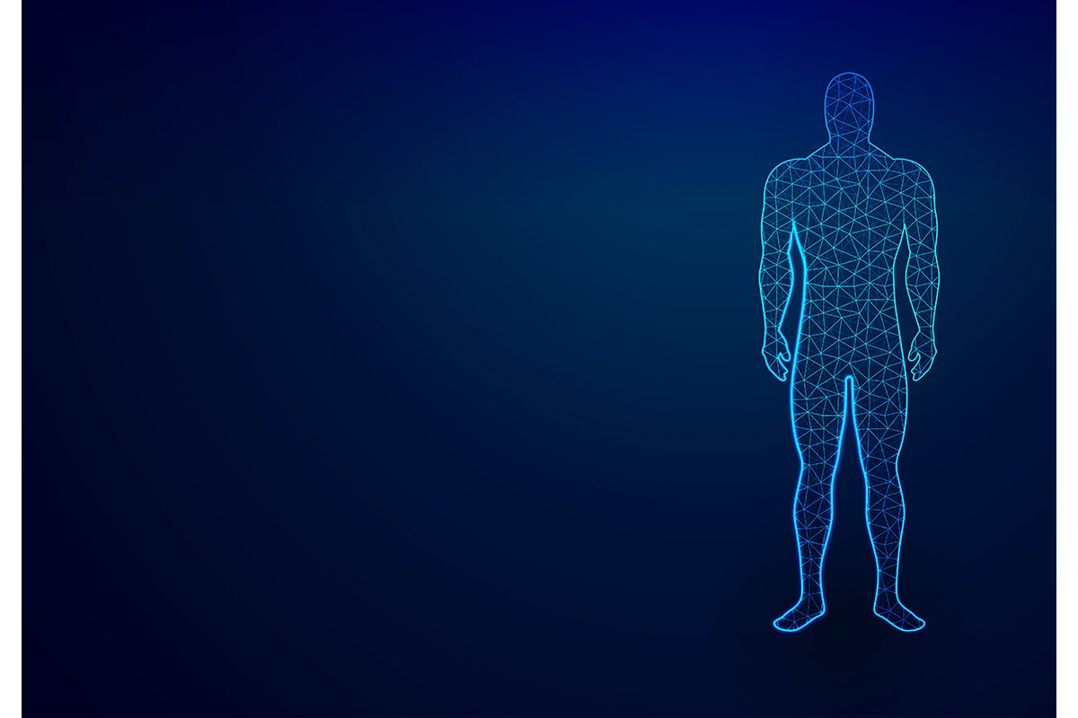 human body in virtual reality. Medical blue print scanned 3D example image 1