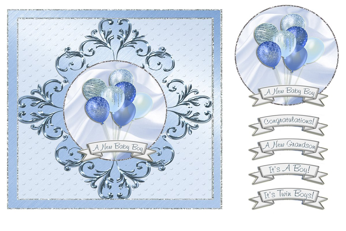 Baby Boy Balloons Card Front example image 1