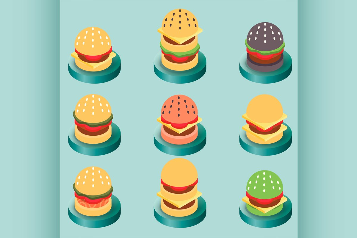 Burgers color isometric icons example image 1