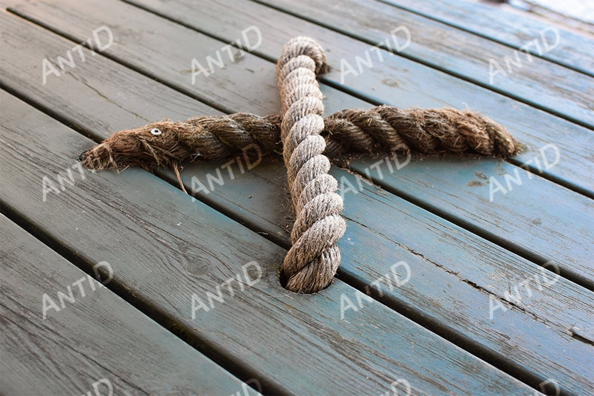 Wooden lid with twine handle. Decor in a marine style. example image 1