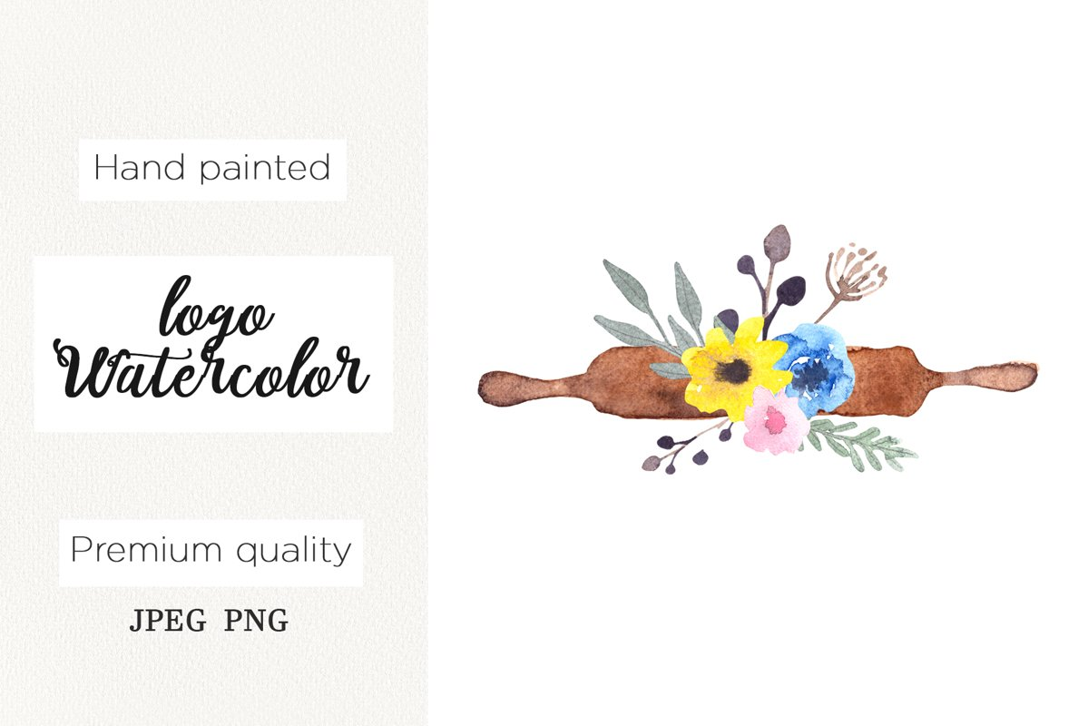 Watercolor logo rolling pin for bakery, cooking clipart example image 1