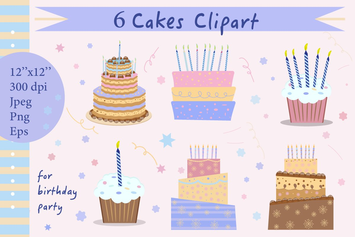 Cake Clipart, Cakes in pastel colors for Happy birthday example image 1