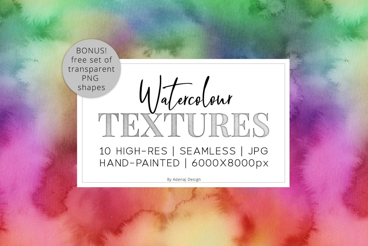 10 Huge Seamless Rainbow Watercolor Textures example image 1