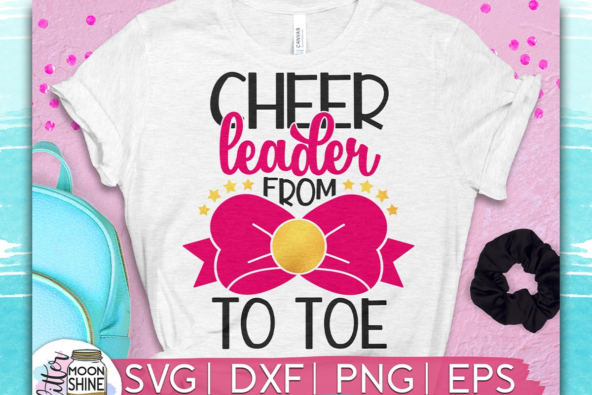 Cheerleader Bow To Toe SVG DXF PNG EPS Cutting Files example image 1