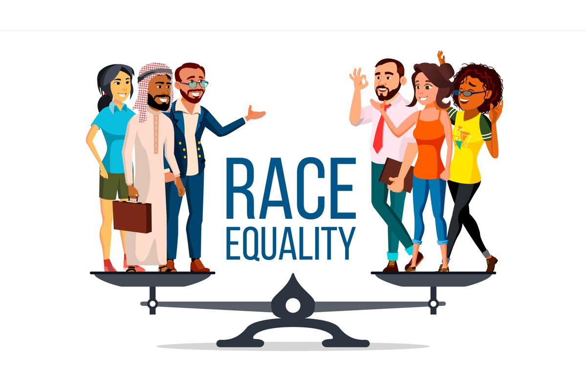 Race Equality Vector. Standing On Scales. Equal Opportunity, example image 1