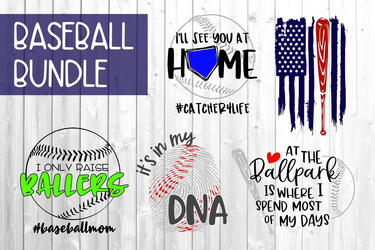 Baseball Bundle SVG DXF PNG example image 1