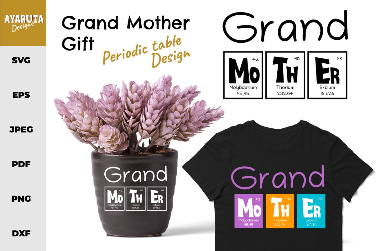 Mother's Day Gift for Grand Mother Quote as Periodic Table example image 1