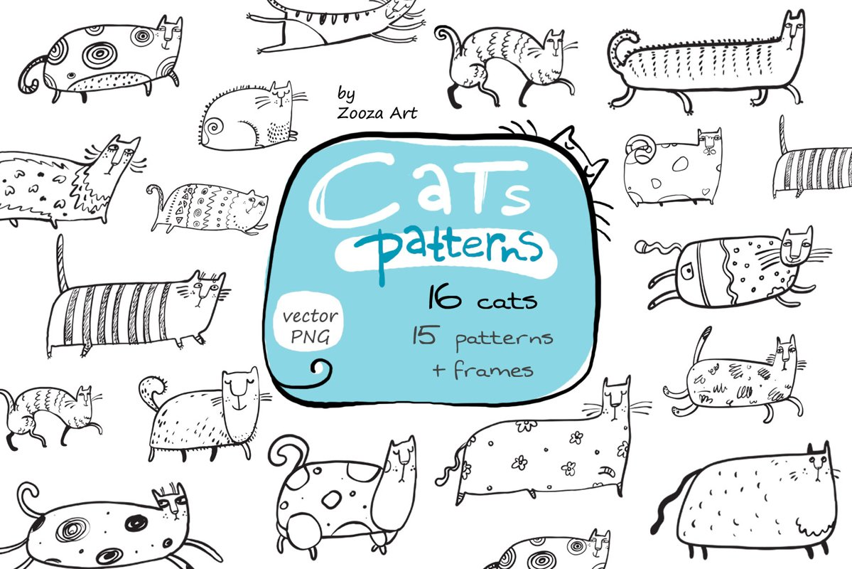Cats patterns and frames example image 1