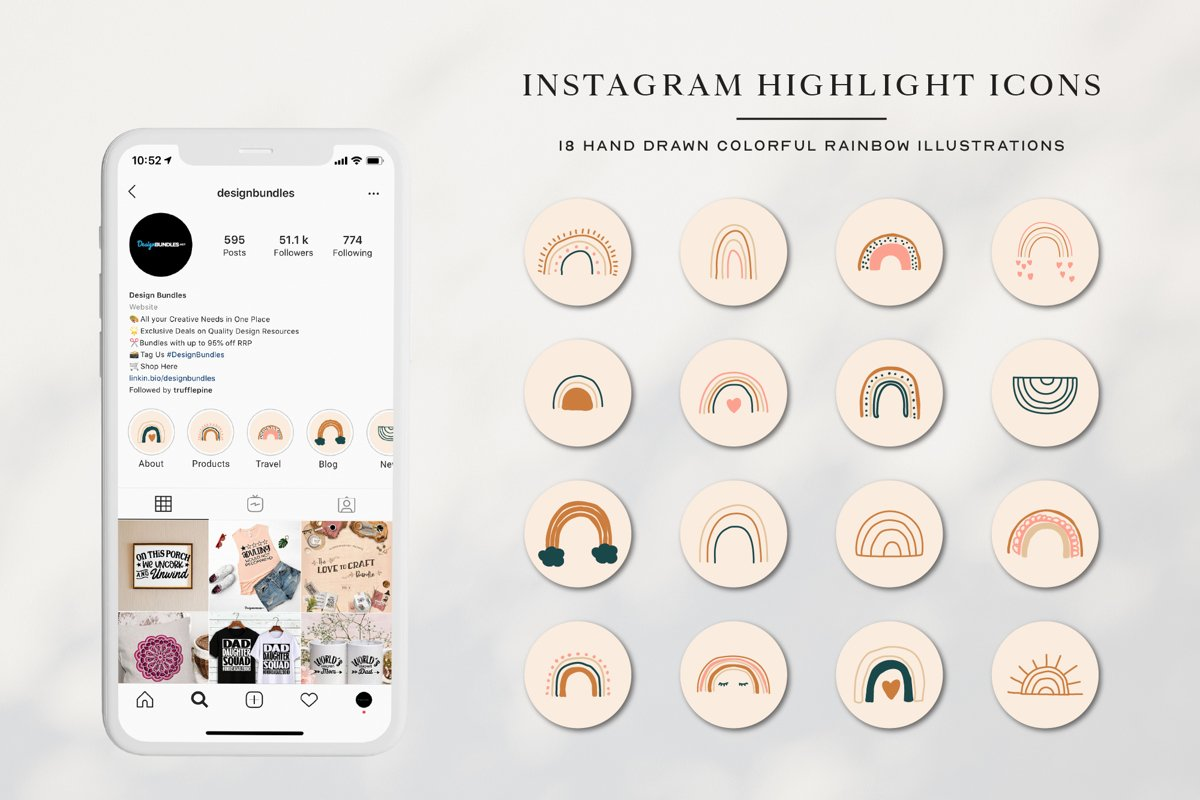 Instagram Rainbow Highlights Icons | Instagram Story Covers example image 1
