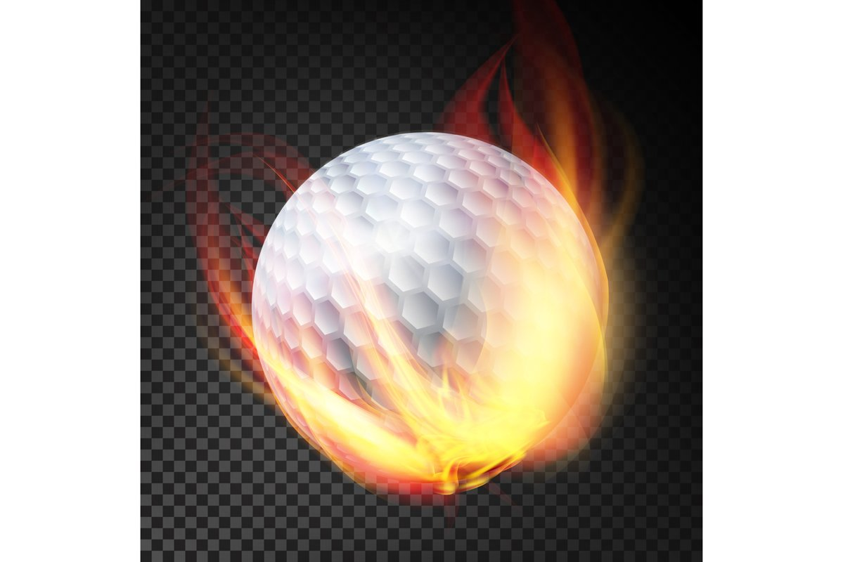 Golf Ball On Fire. Burning Style example image 1