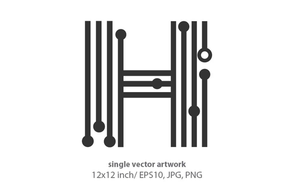 digital letter h - single vector artwork example image 1