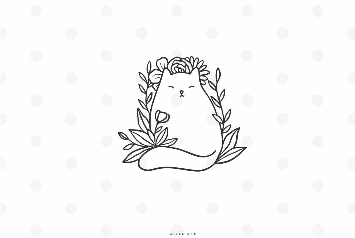 Cute cat with flowers svg cut file example image 1