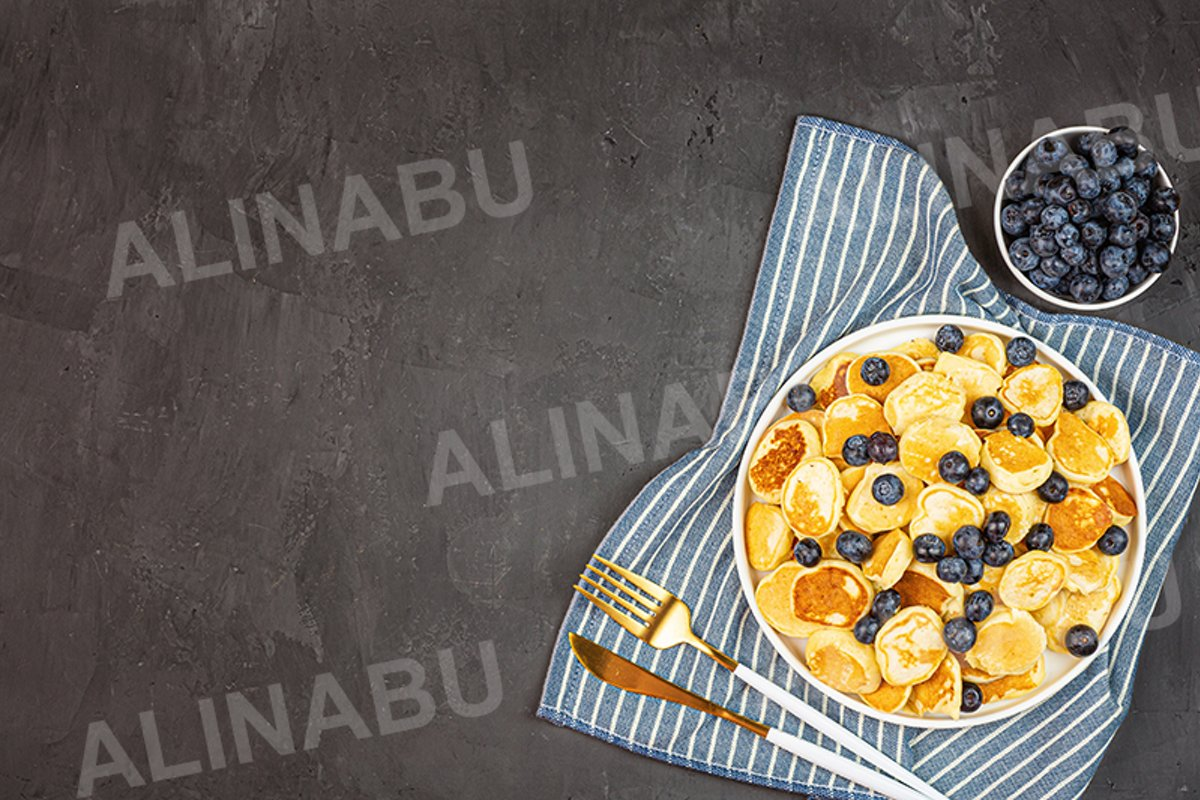 Trendy home breakfast with cereal pancakes and blueberry example image 1