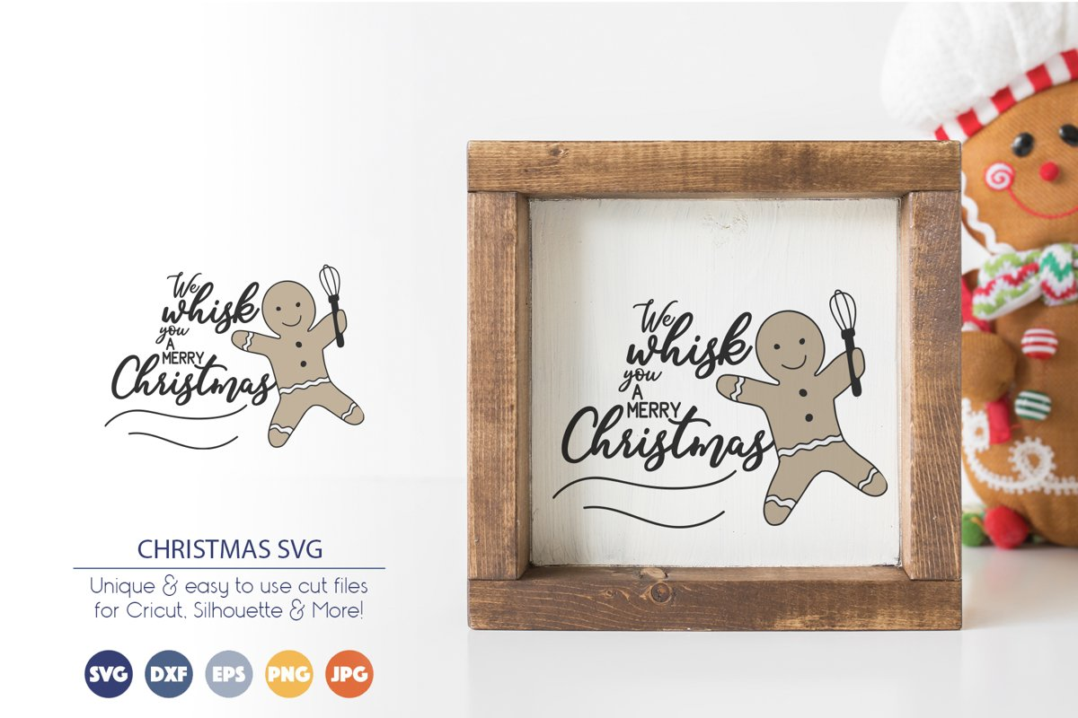 We Whisk You a Merry Christmas SVG | Funny Christmas SVG example image 1