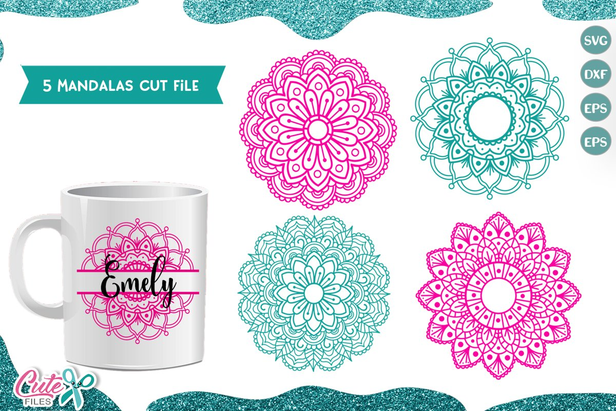 Mandala set of 5 SVG cut file for crafters example image 1