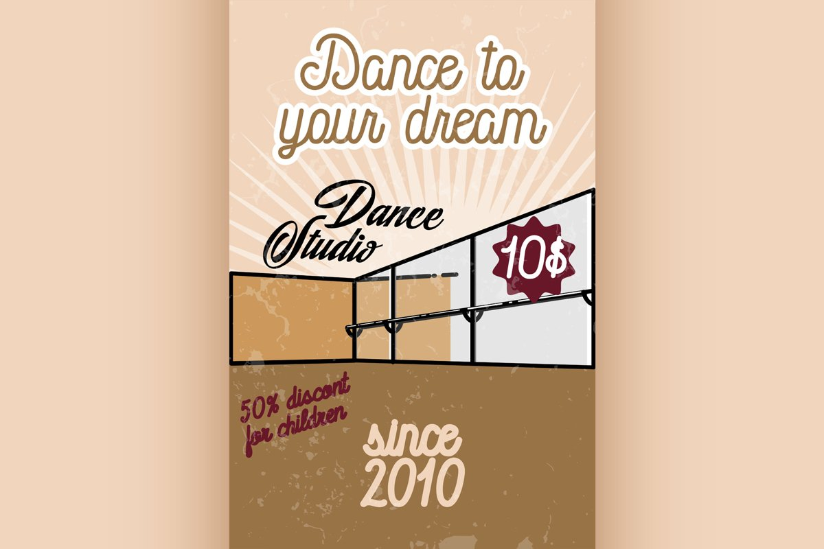 Color vintage dance studio banner example image 1