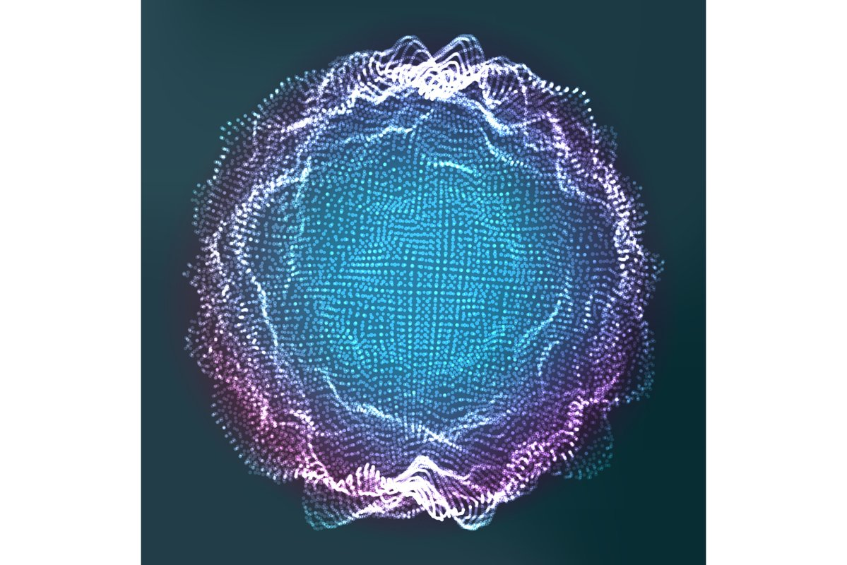 Glowing Abstract Sphere Vector. 3D Particles. Technology example image 1