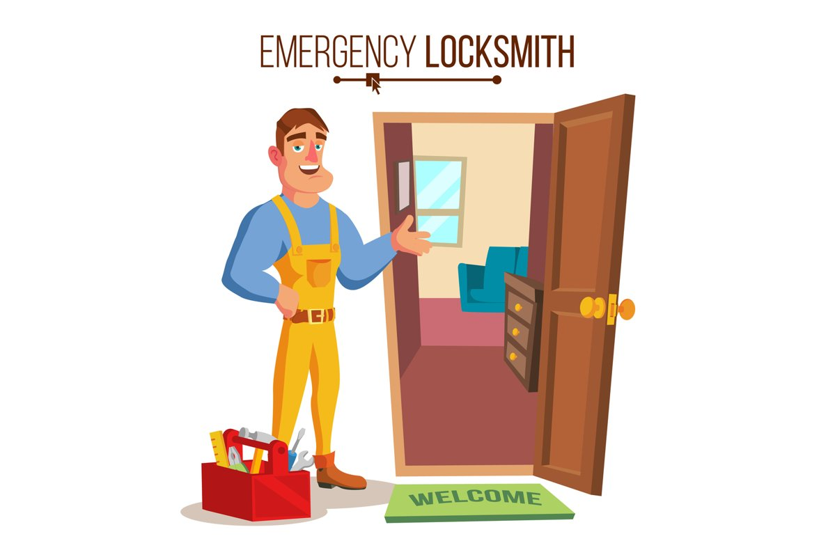 Locksmith Door Service Vector. Professional Master example image 1
