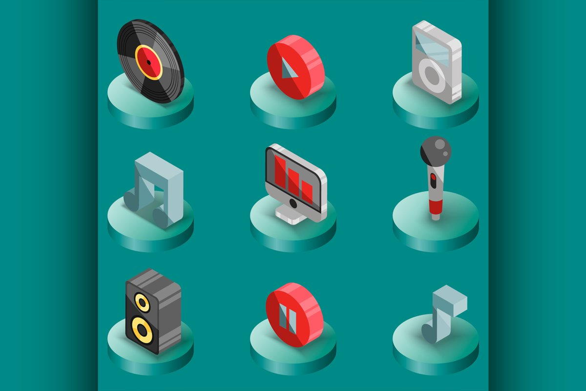 Music color isometric icons example image 1