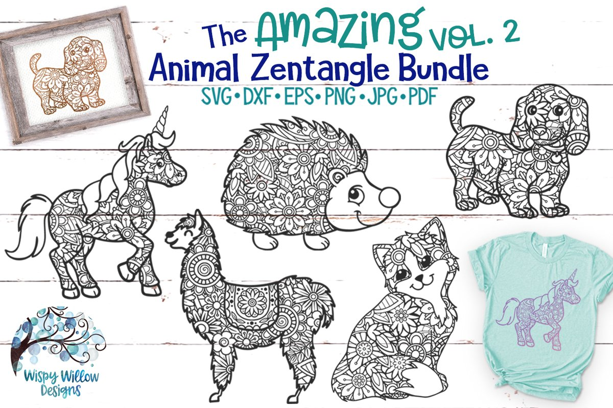 The Amazing Animal Zentangle Volume 2 SVG Bundle example image 1