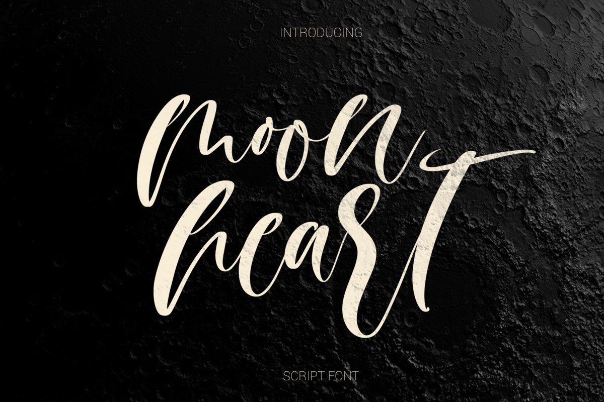 Moon heart script font example image 1