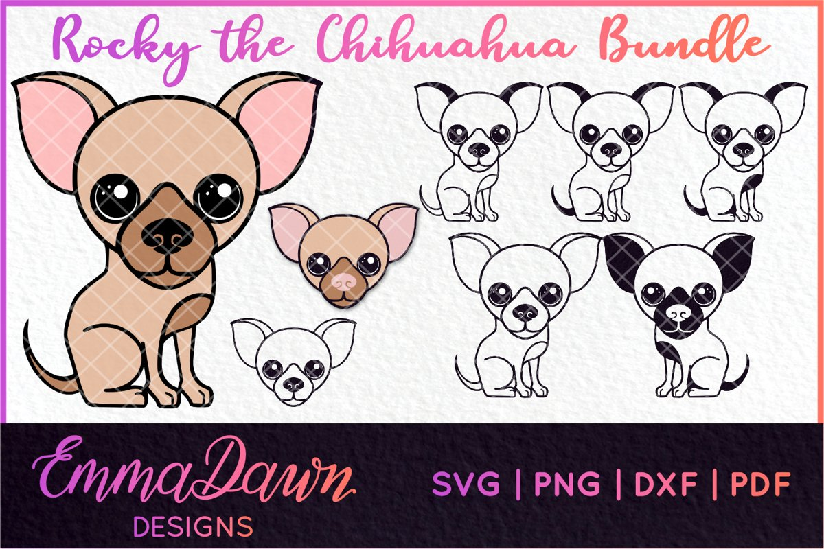8 CHIHUAHUA DESIGNS SVG, DXF, PNG, PDF, FCM example image 1