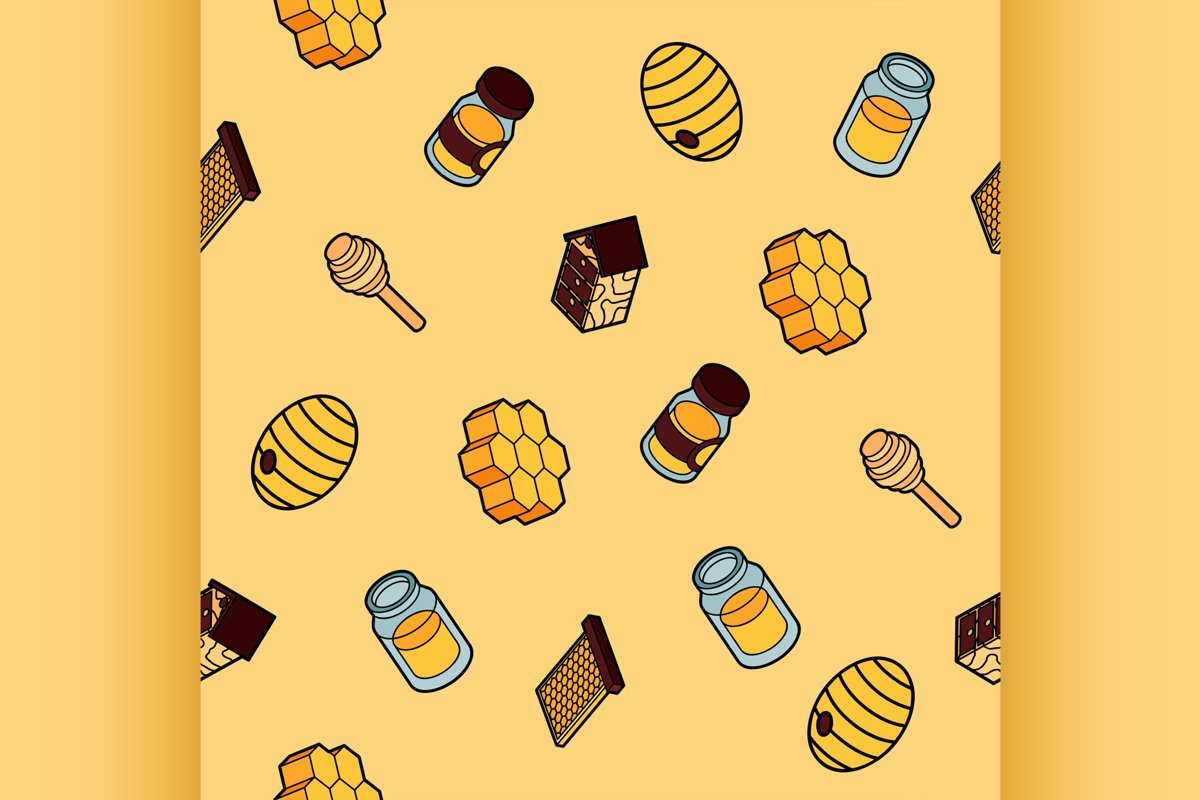 Honey flat outline isometric pattern example image 1