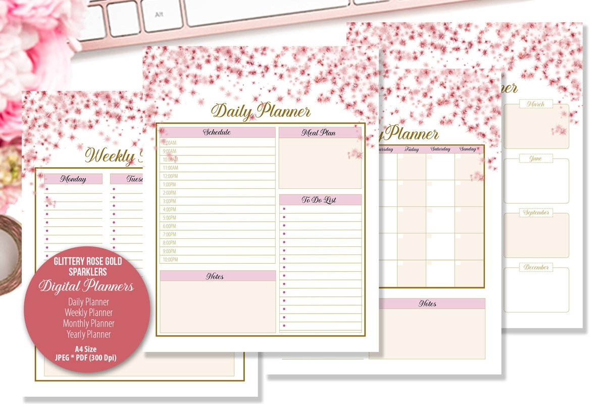 Glittery Rose Gold Sparklers Digital Planner example image 1