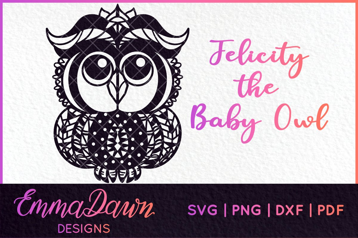 BABY OWL PATTERN SVG, DXF, PNG, PDF, FCM example image 1