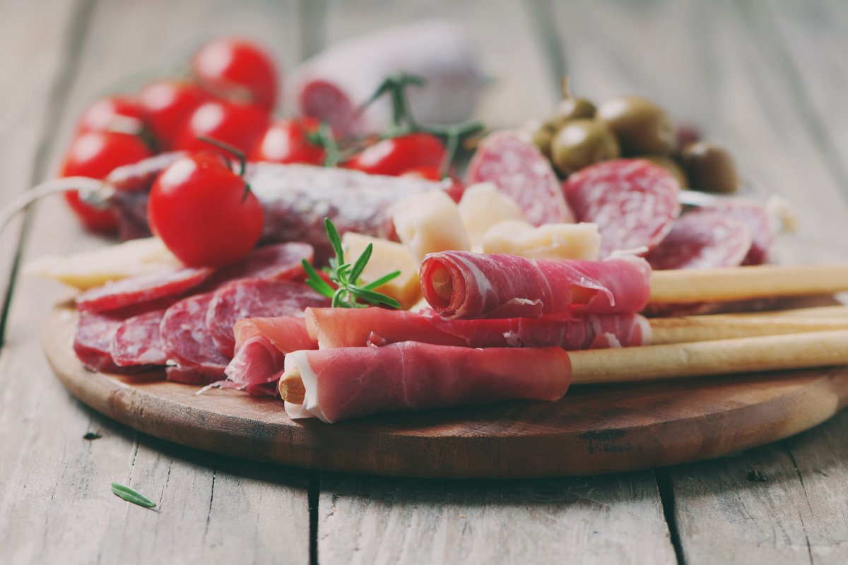 Traditional italian antipasto with prosciutto, cheese example image 1