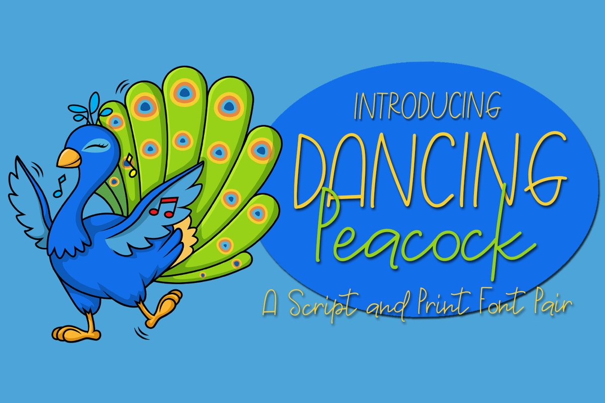 Dancing Peacock - A Script and Print Font Pair example image 1