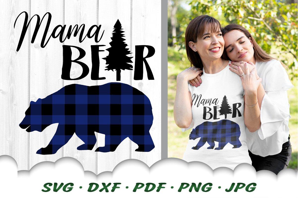 Buffalo Plaid Mama Bear SVG DXF Cut Files example image 1