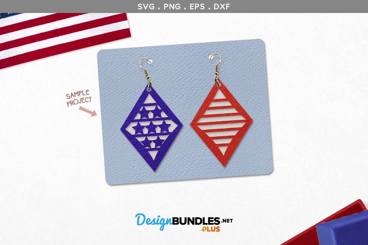 Stars and Stripes Diamond Stacked Earrings Template example image 1