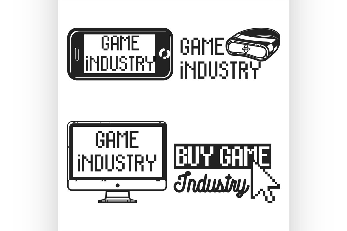 Vintage game industry emblems example image 1