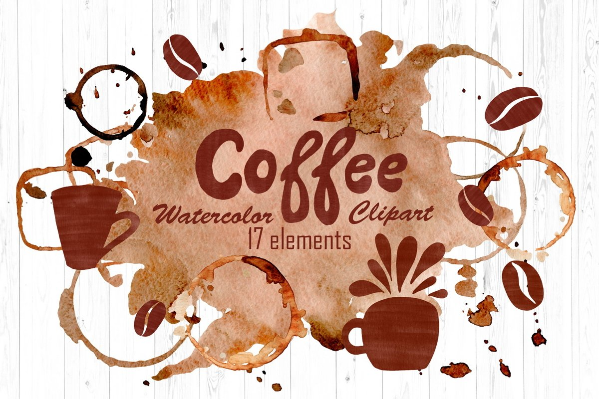 Watercolor Coffee Clipart - Mugs, Beans, Textures, Stains example image 1