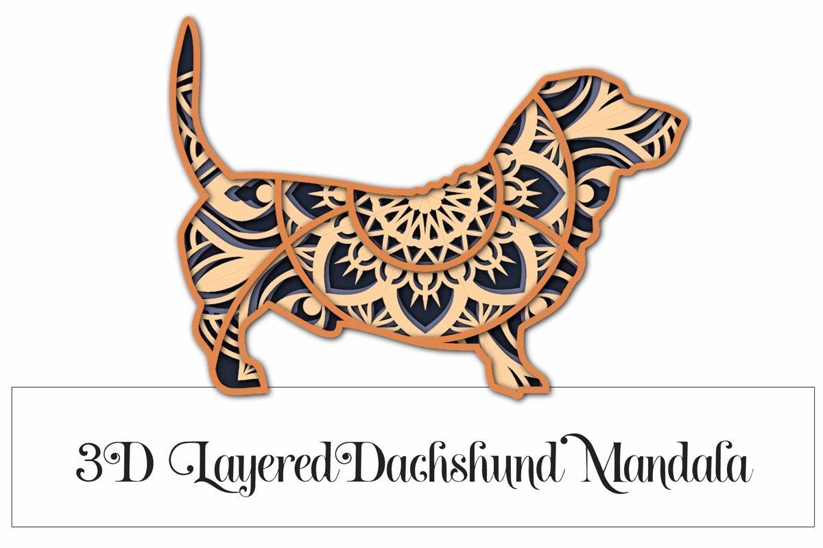 3D Layered Dachshund Mandala SVG - 4 Layers example image 1