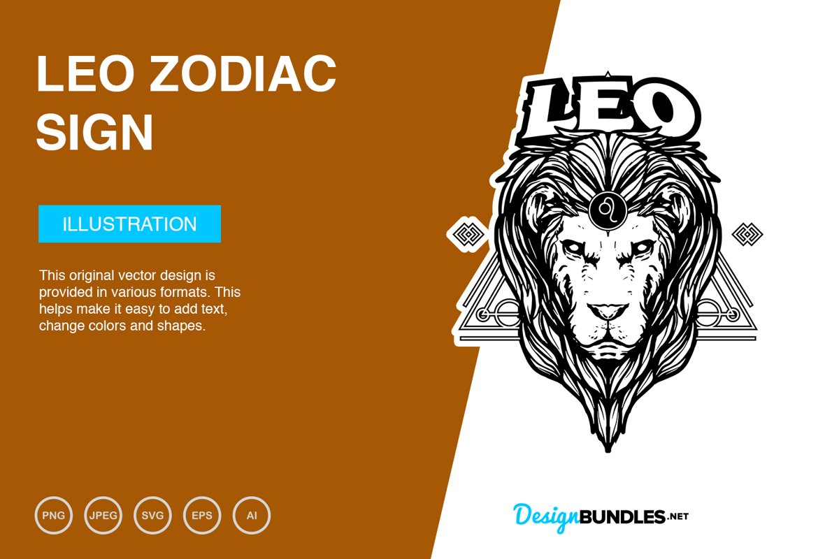 Leo Zodiac Sign Vector Illustration example image 1