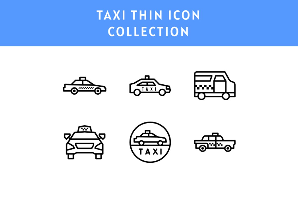 set of Taxi thin line icon illustration example image 1