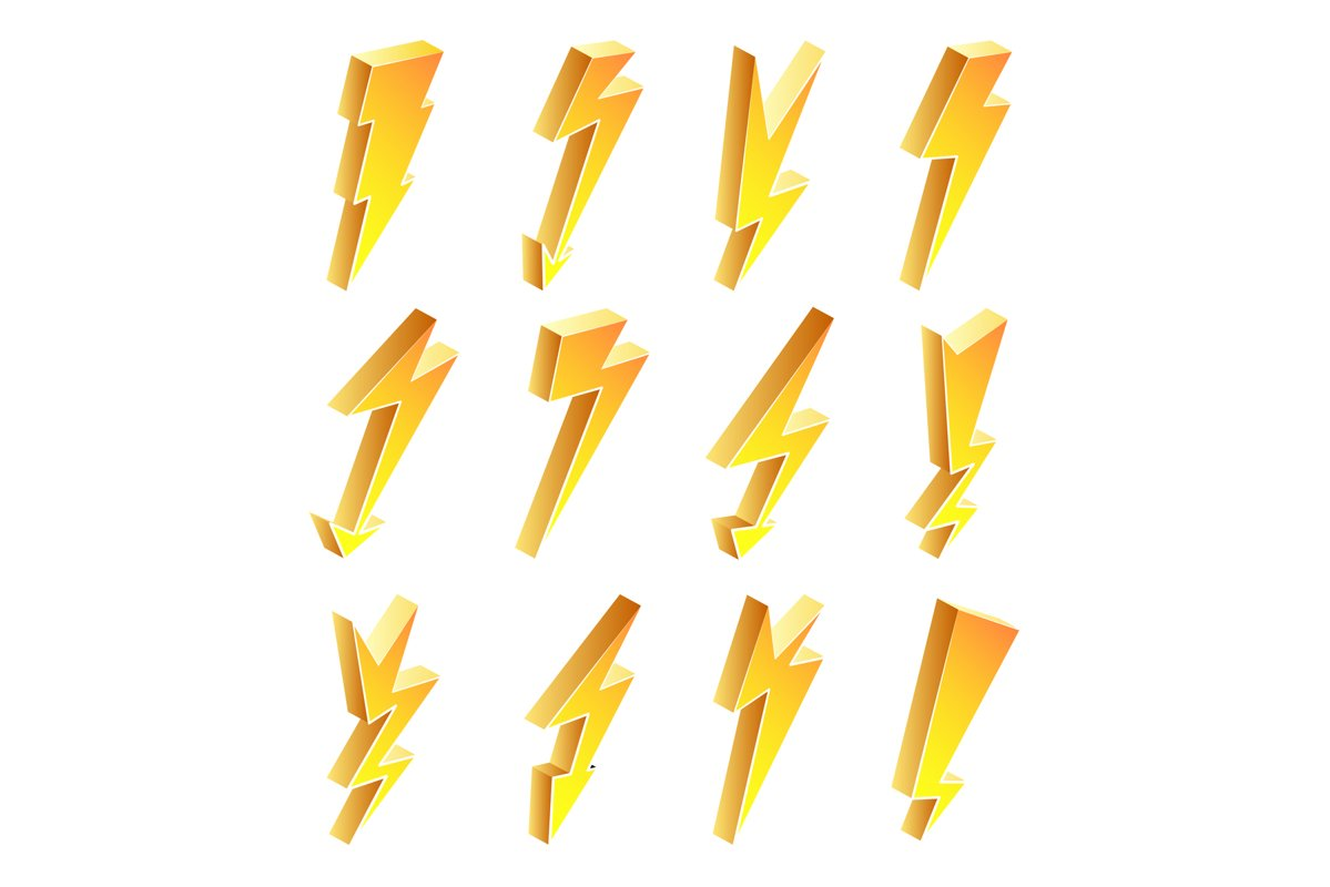 3D Lightning Icons Vector Set. Cartoon Yellow Lightning example image 1