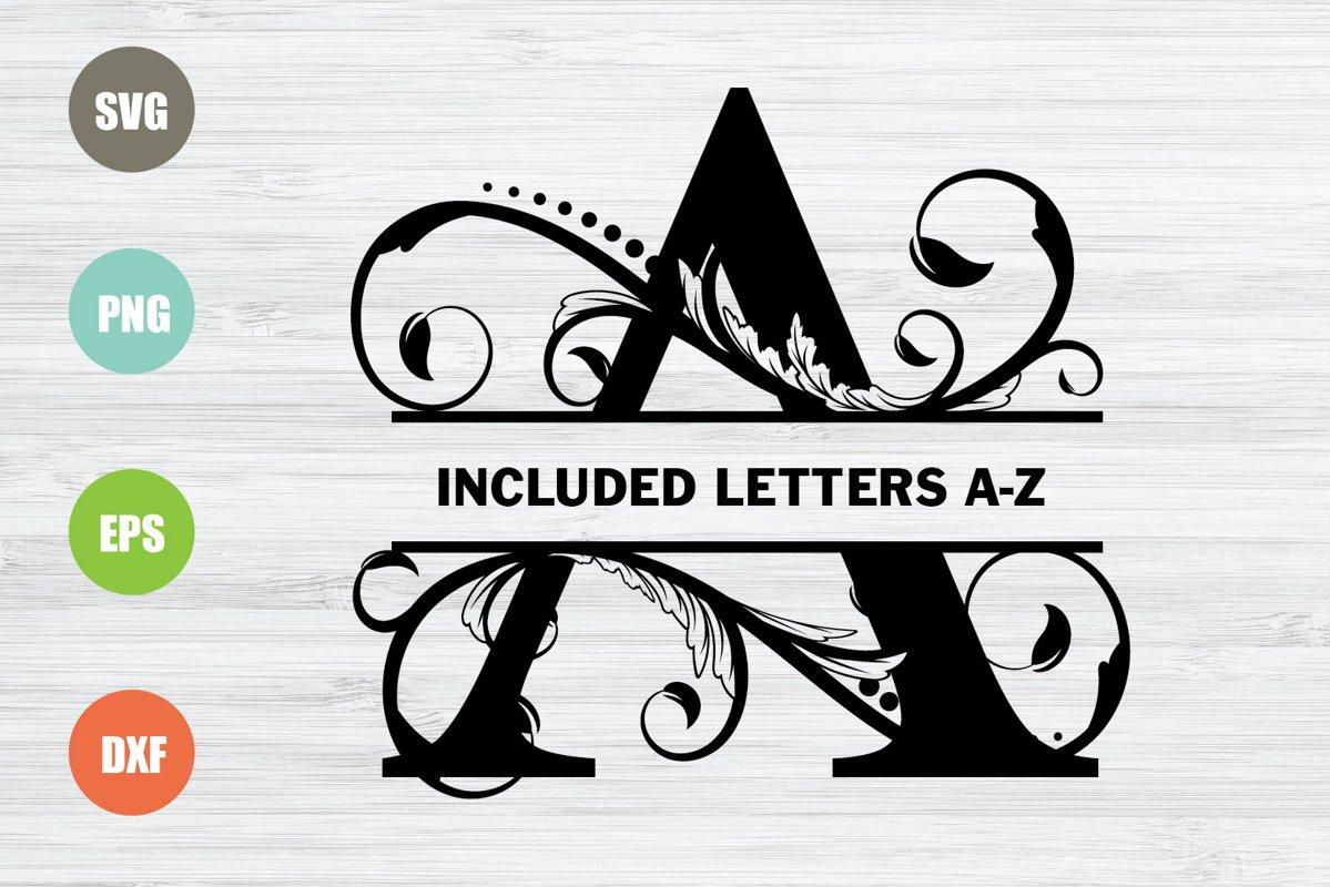 Split Monogram Letters SVG, Full Alphabet example image 1