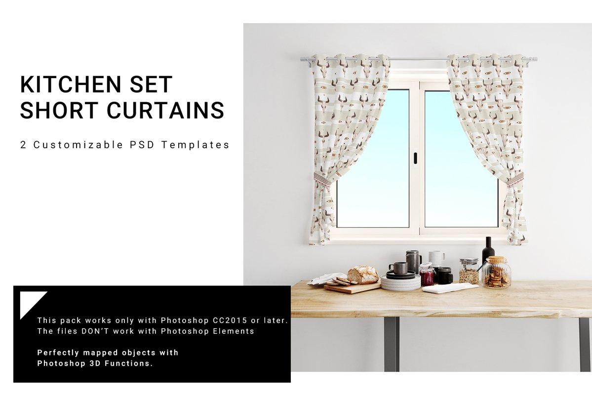 Kitchen Short Curtains Mockup Set example image 1