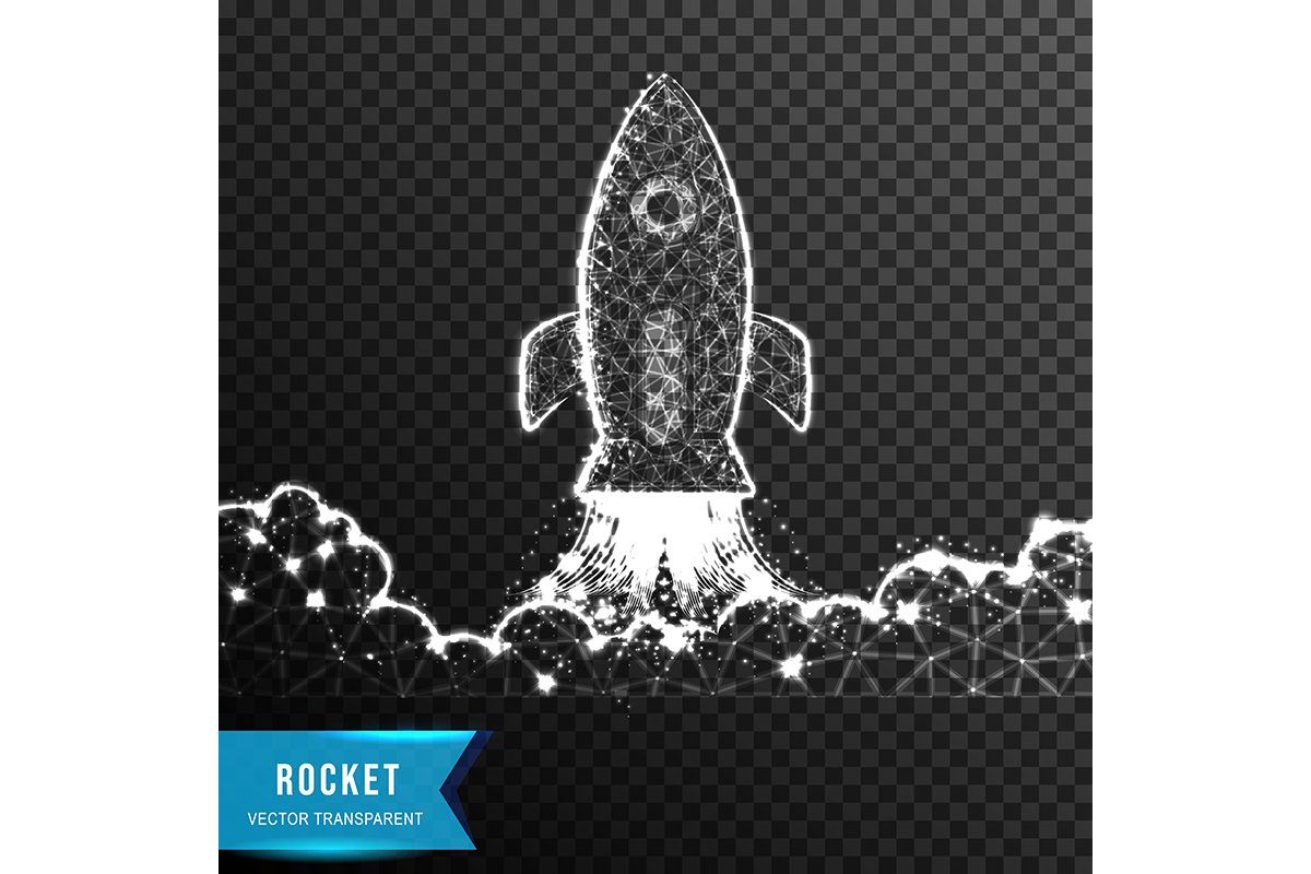 rocket cloud. business startup from connecting dot and line. example image 1